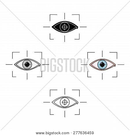 Focus Of Eye In The Virtual Reality Icon In Cartoon Style Isolated On White Background. Virtual Real