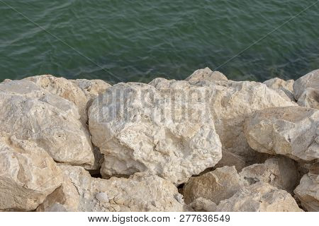 Huge Rocks And Water Sea In Bahrain