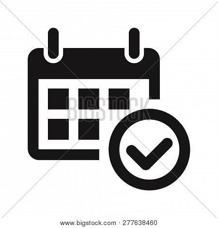Calendar And Approved Icon Isolated On White Background. Calendar And Approved Icon In Trendy Design