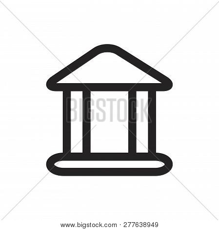 Bank Building Vector Icon On White Background. Bank Building Icon In Modern Design Style. Bank Build
