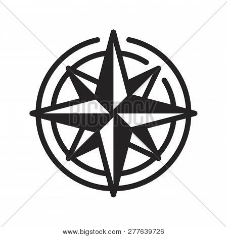 Compass Vector Icon On White Background. Compass Icon In Modern Design Style. Compass Vector Icon Po