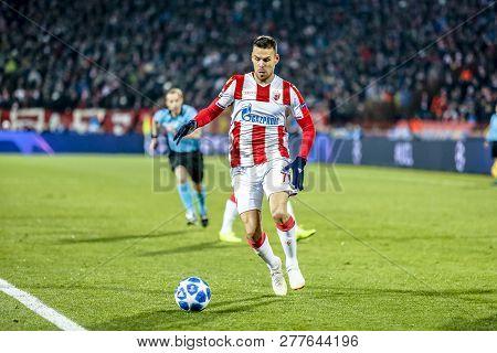 Belgrade, Serbia - December 11, 2018; Marko Gobeljic Playing On A Uefa Champions League Match Red St