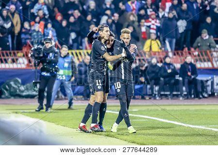 Belgrade, Serbia - December 11, 2018; Angel Di Maria And Neymar Cerebrating A Goal On A Uefa Champio