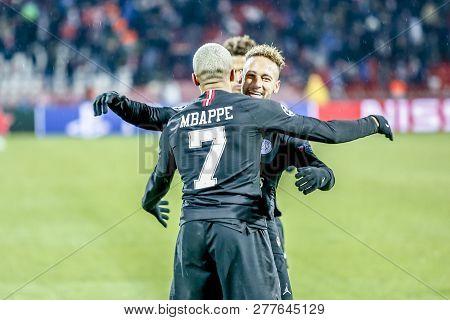 Belgrade, Serbia - December 11, 2018; Psg Players Mbappe And Neymar Celebrating On A Uefa Champions