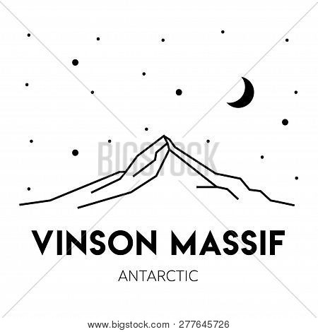 Vinson Massif In Antarctica. Vector Black And White Illustration. Print Design. Nature