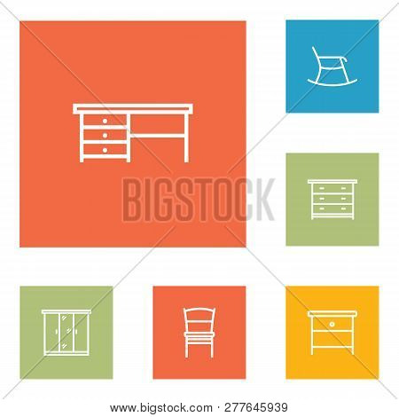 Set Of 6 Set Icons Line Style Set. Collection Of Stool, Bedside Table, Worktop And Other Elements.