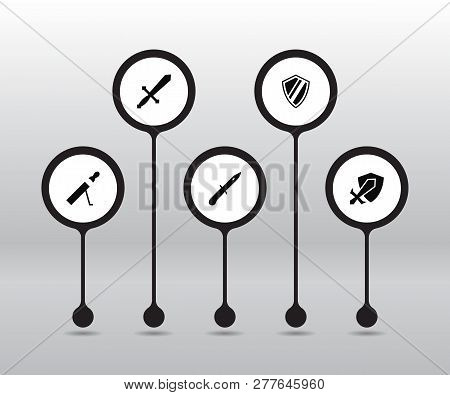 Set Of 5 Game Icons Set. Collection Of Sword, Shield, Protection And Other Elements.