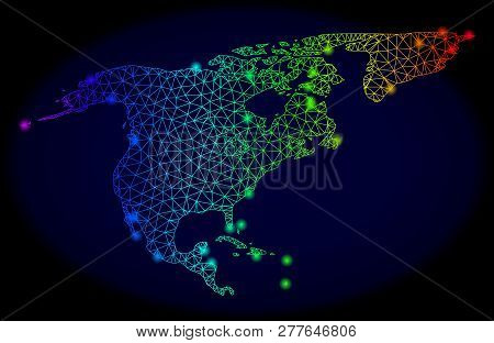 Bright Spectrum Mesh Vector Map Of North America And Greenland With Glowing Effect. Abstract Lines,