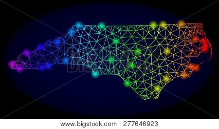 Bright Spectrum Mesh Vector Map Of North Carolina State With Glowing Effect. Abstract Lines, Triangl