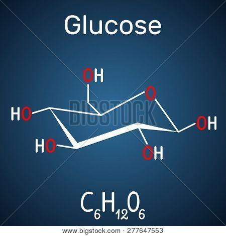 Glucose (dextrose, D-glucose) Molecule. Structural Chemical Formula On The Dark Blue Background. Vec