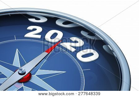 3d Rendering Of An Compass With The Year 2020
