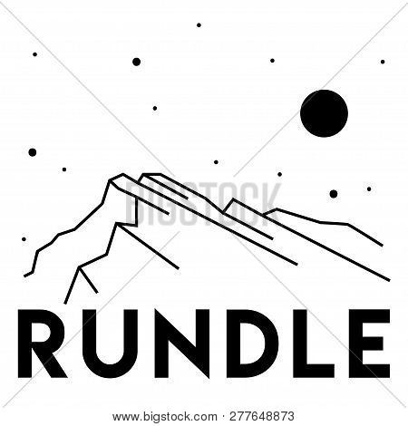 Rundle. Vector Black And White Illustration Of Mountains. Print Design. Canada