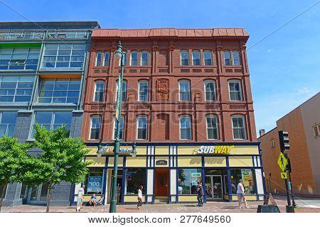 Portland, Me, Usa - Jun 20, 2015: Portland Arts District Congress Street Is Regarded As The Heart Of