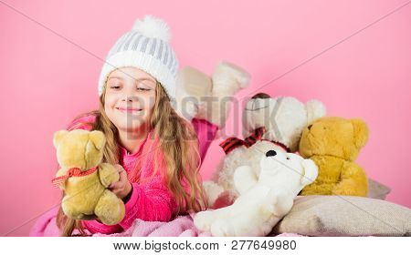 Kid Little Girl Play With Soft Toy Teddy Bear Pink Background. Softness Is Key. Child Small Girl Pla