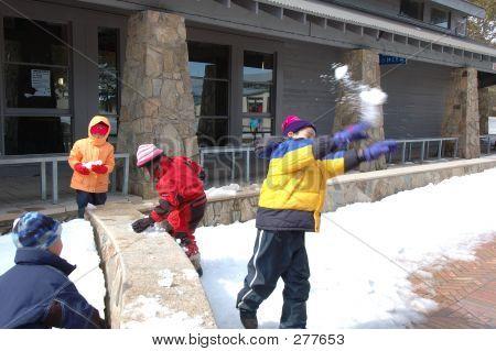Children Snow Play