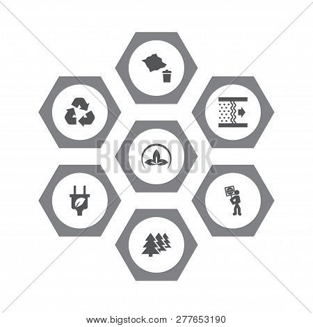 Set Of 7 Ecology Icons Set. Collection Of Recycling, Eco, Afforestation And Other Elements.