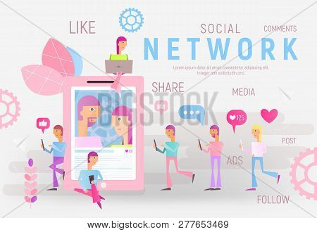 Social Networking Concept - Young People Using Cellphone And Laptop For Sending Posts In Social Medi