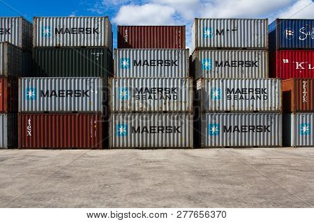 Doncaster, Uk - July, 30, 2016.  Stacked Container Boxes From The Shipping Company Maersk At A Uk Fr