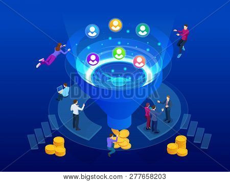 Isometric Sales Funnel Elements. Business Infographics Template. Online Funnel Generation Sales For