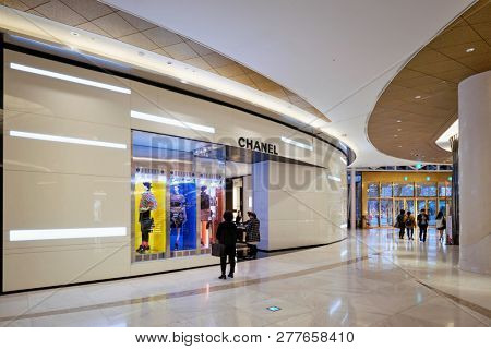 SEOUL, SOUTH KOREA - April 1, 2016 : Chanel shop in recently opened Lotte Avenuel Koreaâ??s largest department store dedicated to top-shelf luxury goods