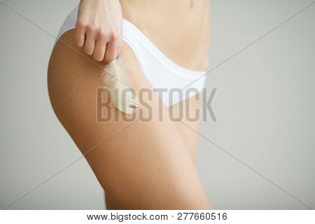 Women Health. Closeup Of Womans Body With Soft Skin In Bikini