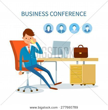 Business Conference Man Talking On Phone Icons Vector. Profiles Of Clients, Customers Base Of Boss.