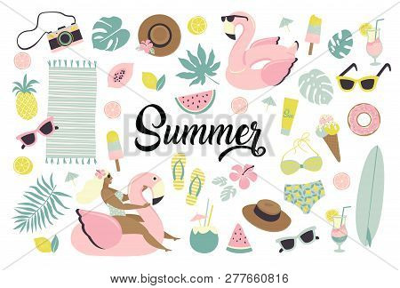 Set Of Cute Summer Icons Food, Drinks, Ice Cream, Fruits, Sunglasses, Palm Leaves And Flamingo Infla