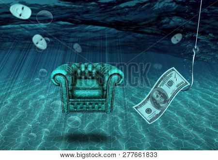 Comfortable Chair under the sea with masks and baited hook. 3D rendering