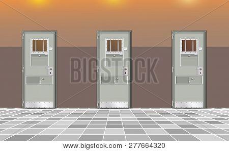 Background Prison, Trend European Interior. Jail Cells Modern With Gray Doors. Behind Bars In Jail,