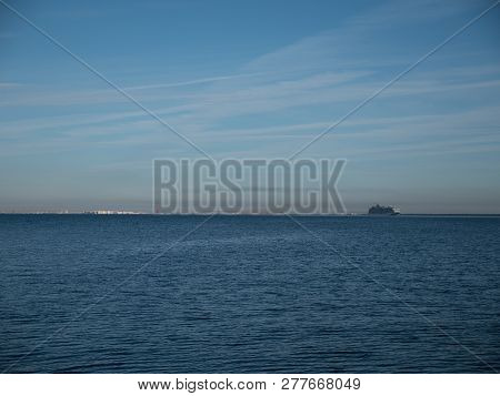 The Cruise Ship Goes On A Trip From The Port