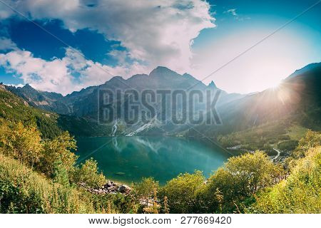 Tatra National Park, Poland. Famous Mountains Lake Morskie Oko Or Sea Eye Lake In Summer Evening. Be