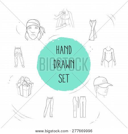Set Of Clothing Icons Line Style Symbols With Bandanna, Long Sleeve Body, Flared Jeans Icons For You