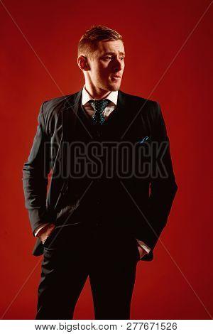 Director Concept. Confident Director. Director General In Classy Suit. Caucasian Businessman Or Fina