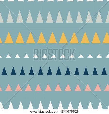 Triangles In A Row Seamless Vector Pattern. Abstract Background Hand Drawn Lined Up Triangles. Geome