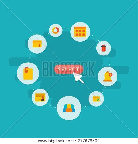 Set Of Management Icons Flat Style Symbols With Important Task, Personal Task, Attach File And Other
