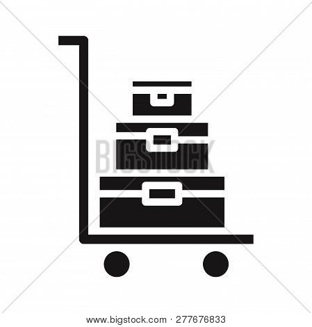 Luggage Trolley Icon Isolated On White Background. Luggage Trolley Icon In Trendy Design Style. Lugg