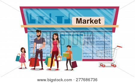 1b847f9316c68 Family Shopping Flat Vector Concept with Happy Smiling Parents with Children  Carrying Paper Packets and Gift Boxes near Shop Entrance Illustration  Isolated ...