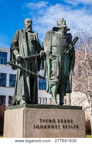 Prague, Czech Republic - April, 2018: Sculpture Of The Danish Astronomer Tycho Brahe And The German