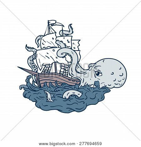 Doodle art illustration of a kraken, a legendary cephalopod-like giant sea monster attacking a sailing ship with its tentacles on sea with tumultuous waves done in sketch drawing style. poster