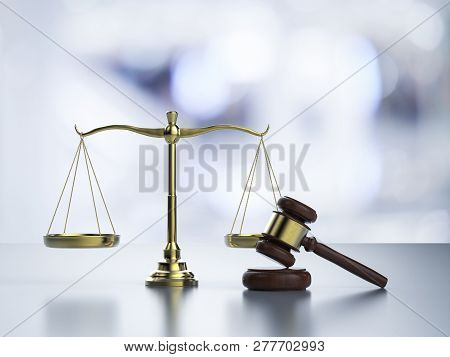 Law Scale With Gavel Judge