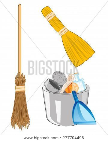 Pail With Rubbish And Broom With Besom