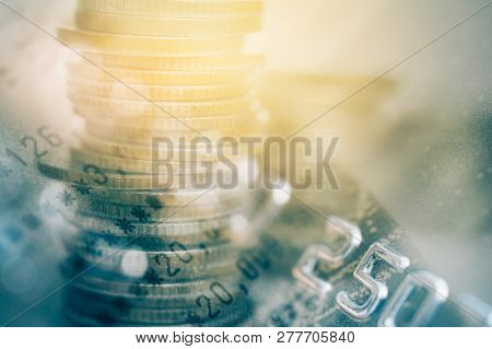 Double Exposure Of Bankbook And Credit Card , For Business And Finance Background