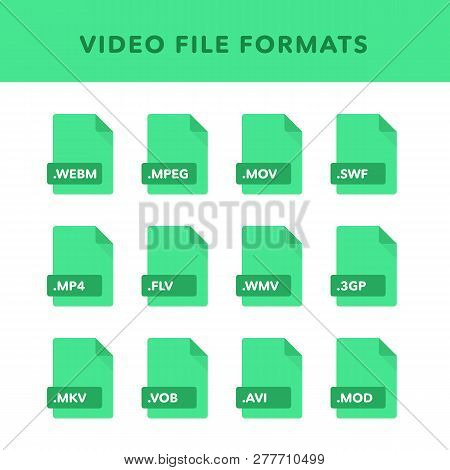 Set Of Video File Formats And Labels In Flat Icons Style. Vector Illustration