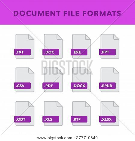 Set Of Document File Formats And Labels In Flat Icons Style. Vector Illustration