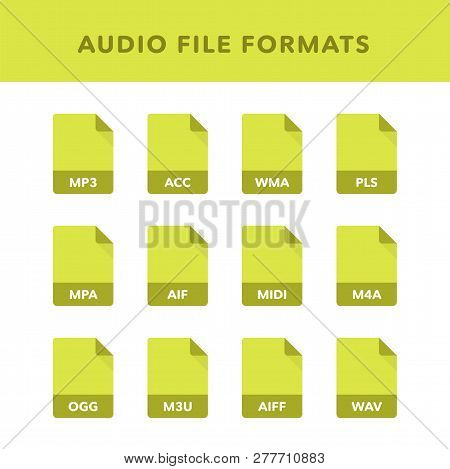 Set Of Audio File Formats And Labels In Flat Icons Style. Vector Illustration