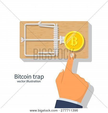 Coin Bitcoin In A Mousetrap. Money Trap Crypto Currency.  Blockchain Cryptocurrency. Mousetrap With