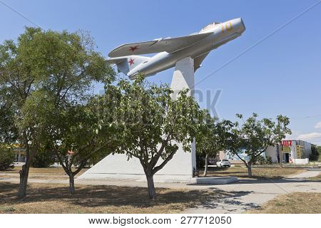 Evpatoria, Crimea, Russia - July 3, 2018: Mig-17 Aircraft On A High Pedestal At The Intersection Of