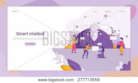 Illustration Smart Chatbot Answers People Question. Banner Vector Image Online Communication Client