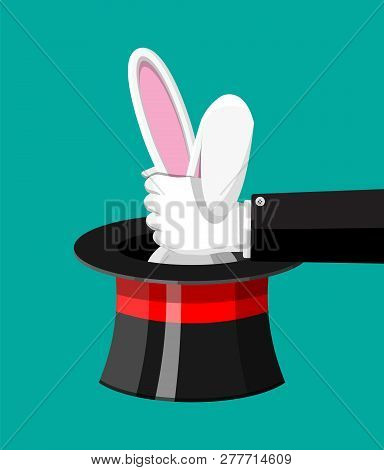 Magic Hat With Easter Bunny Ears. Illusionist Hat With Rabbit. Circus, Magical Show, Comedy. Vector