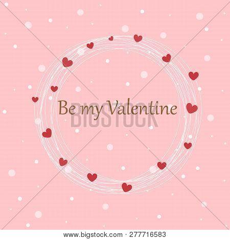 Pastel Pink Background In Love Emotion For Valentine Concept. Sweet Wallpaper On Valentine Day Decor